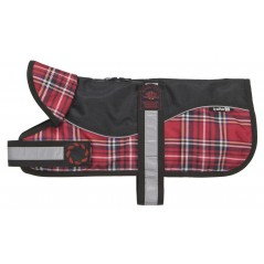 "Reflective Black/RedTartan Padded Harness Coat from - Please Note: 20"" Coats upwards have two straps - see image below!"