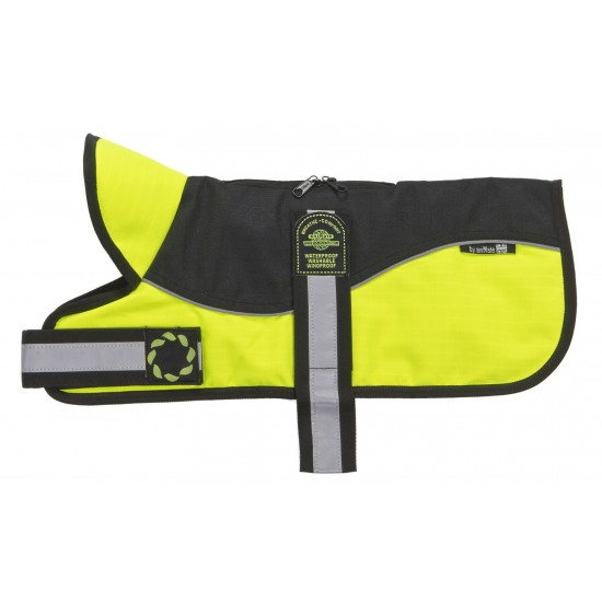 "Reflective Black/Hi-Viz Padded Harness Coat from - Please Note: 20"" Coats upwards have two straps - see image below!"