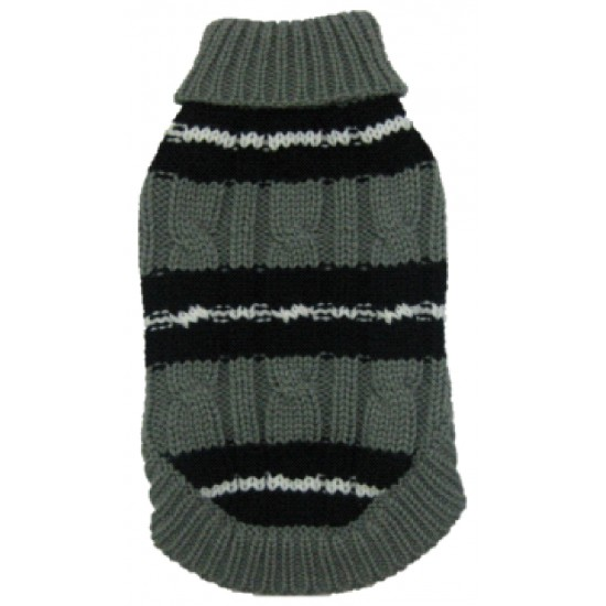 Grey Ribbed Polo Jumper 8""
