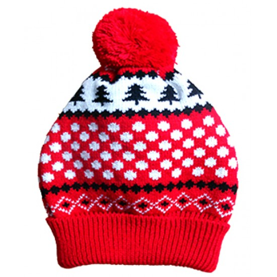 70350 A Red Snowflake Christmas Bobble Hat