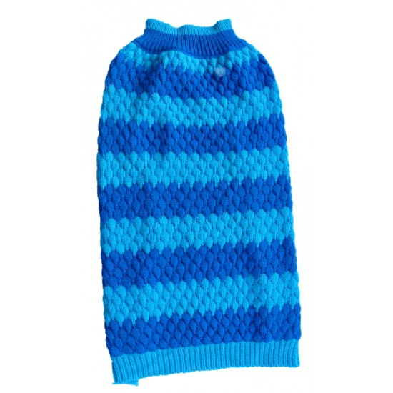"A Blue Striped Honeycombe Crew Neck Dog Jumper available is sizes 8"" - 22"""