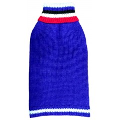 "A Blue Striped Collar Polo Jumper available in sizes 8"" - 22"""