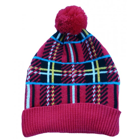 70360 A Red Tartan Christmas Human Bobble Hat