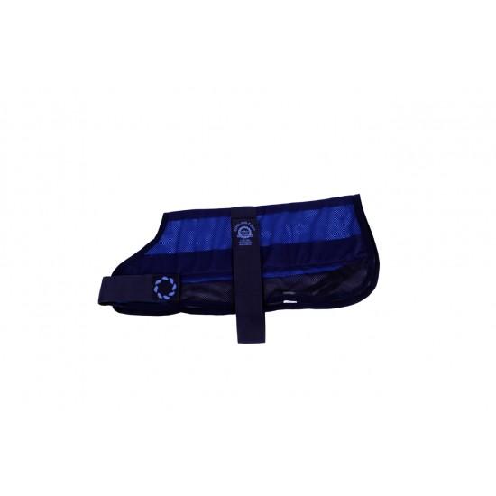 COOLB54 16 inch Cooling Dog Coat and Bag Navy MED