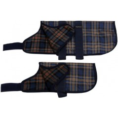 "16993 34"" Camel Watch Tartan Breathe-Comfort Dog coat with Fur Lining"