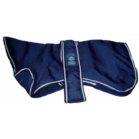 "DJW18GPB 18"" Navy Blue Greyhound Breathe-Comfort Dog Coat with Padded Lining and neck cover"