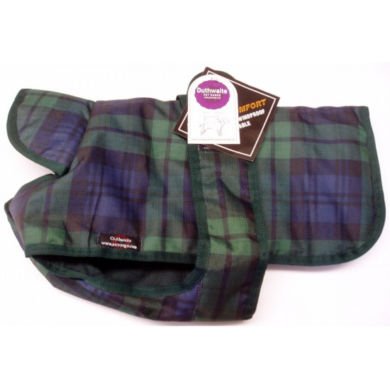"DJW20PUT/B 20"" Blue Green Tartan Breathe-Comfort Polyester Coat with Underbelly and Padded Lining"