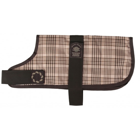 "66310 10"" Brown Check Padded Dog Coat"