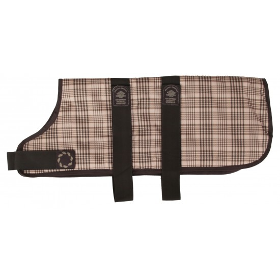 "66324 24"" Brown Check Padded Dog Coat"