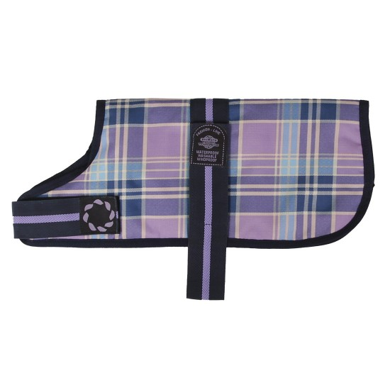 "DJW12CPL 12"" Lilac Tartan Padded Dog Coat"