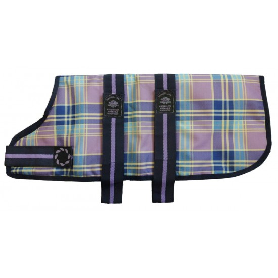 "DJW22CPL 22"" Lilac Tartan Padded Dog Coat"