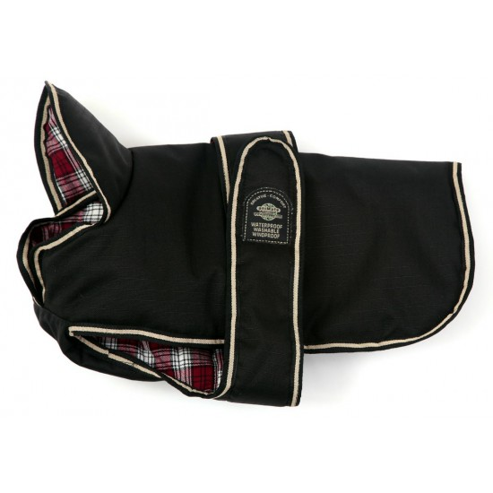 DJW22PUBK 22 inch Padded Black Underbelly Coat with a Red Tartan Lining