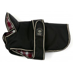 DJW8PUBK 8 inch Padded Black Underbelly Coat with a Red Tartan Lining