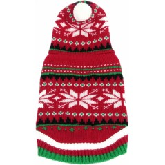 """Red Christmas Snow Flake Hooded Jumper 8"""""""