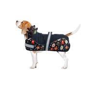 aniMate Padded Festive Holly Jolly Dog Coat, Navy