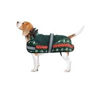 aniMate Padded Festive Reindeer Dog Coat, Green