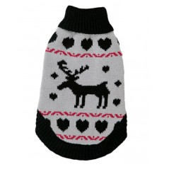70050 Grey Polo Neck Reindeer Christmas Dog Jumper