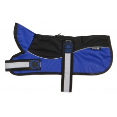 "Reflective Black/Blue Unpadded Harness coat plus collar from - Please Note: 20"" Coats upwards have two straps - see image below!"
