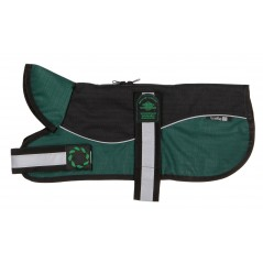 "Reflective Black/Green Unpadded Harness coat plus collar from - Please Note: 20"" Coats upwards have two straps - see image below!"