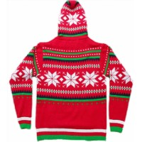 70343 A Red Christmas Snowflake Human Jumper with Hoodie