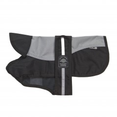 """A Reflective Grey/Black Underbelly Coat complete with a black fleece check lining.  Fully Waterproof, Windproof and Washable along with a generous adjustable Velcro Strap.  Available in 12 sizes from 8"""" - 30"""""""