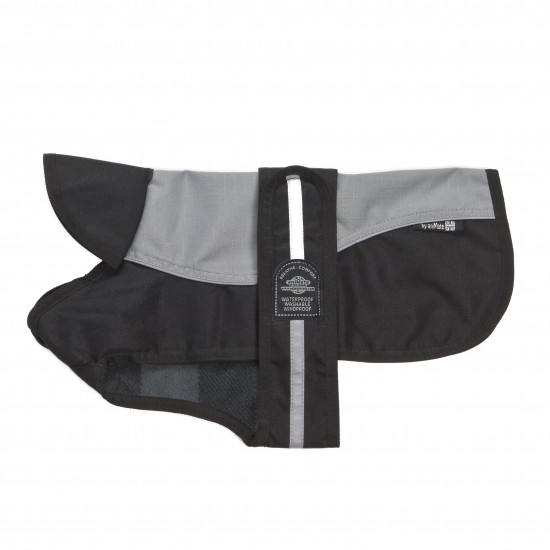 "A Reflective Grey/Black Underbelly Coat complete with a black fleece check lining.  Fully Waterproof, Windproof and Washable along with a generous adjustable Velcro Strap.  Available in 12 sizes from 8"" - 30"""
