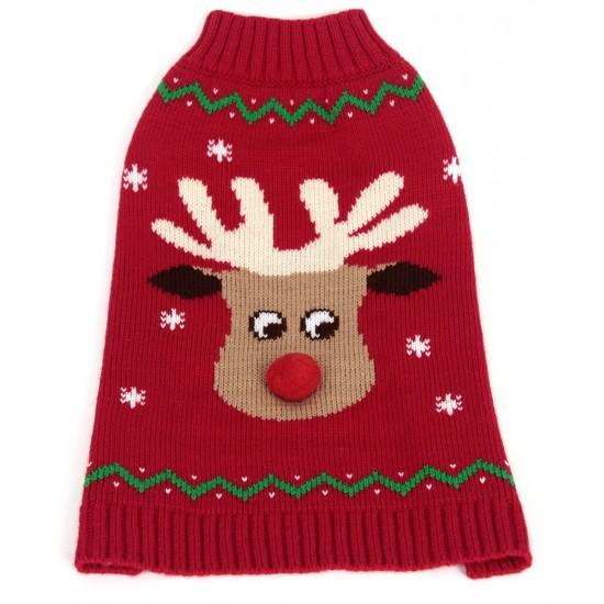 """Red Reindeer Pompom Nose Crew Neck Jumper 8"""""""