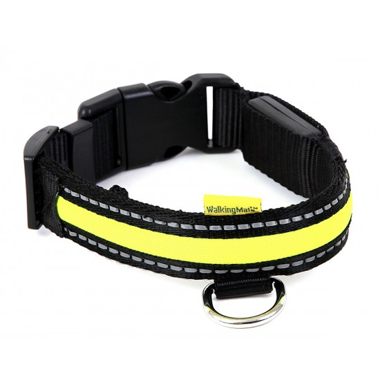30760 Walking Mate Soft Nylon Led Collar Green 25mm X 34-41cm