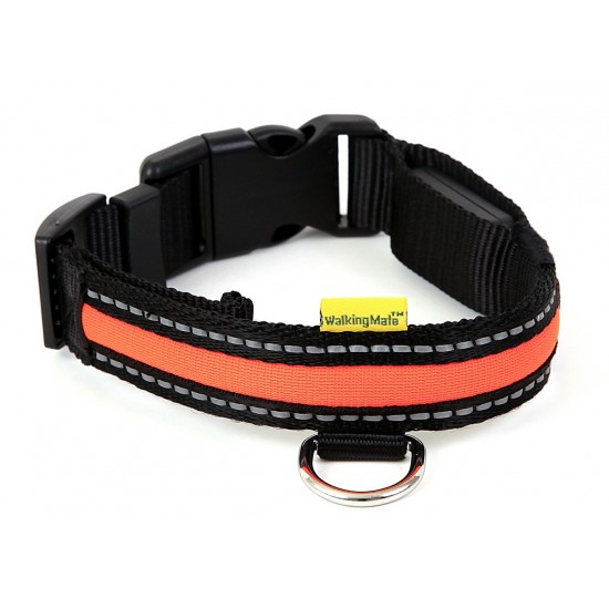 30752 Walking Mate Soft Nylon Led Collar Orange 25mm X 45-63cm