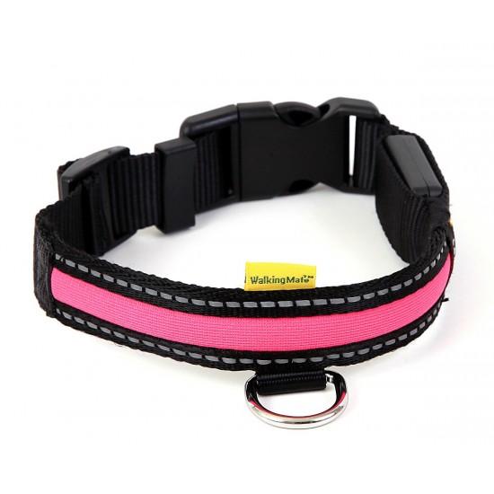 30742 Walking Mate Soft Nylon Led Collar Pink 25mm X 45-63cm