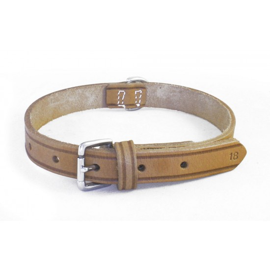 DLN12C10 12mm x 10 inch (25cm) Natural Leather Collar