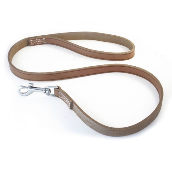 DLN1510 15mm x 1m (40 inch) Quality Natural Leather Lead with Trigger Hook