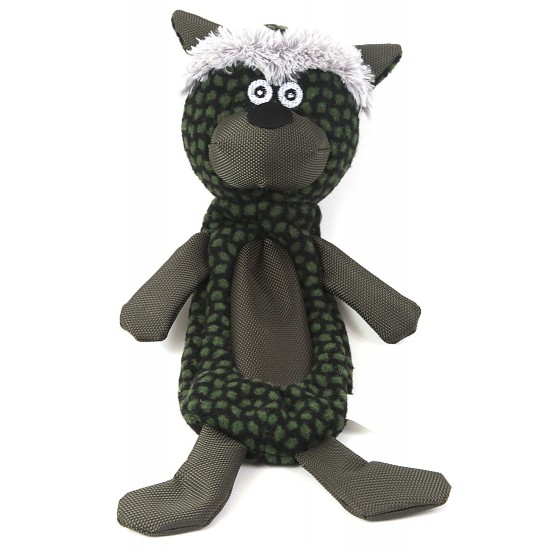 88151 Green Cat Crinkle Fabric Toy with Squeaker