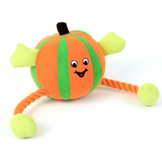 88300 Orange Humbug Ball/Rope Dog Toy with Squeaker