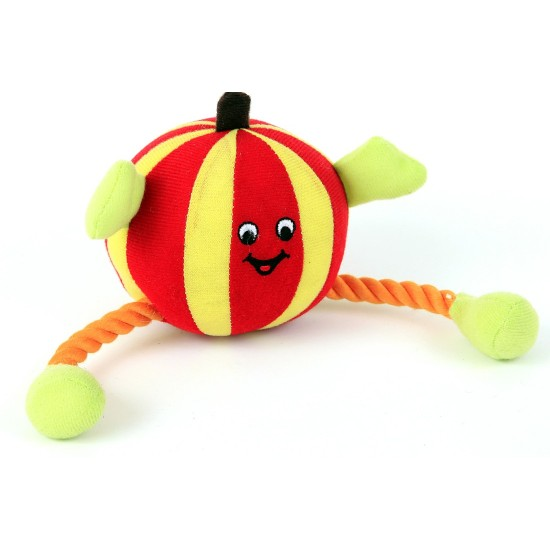 88302 Red Humbug Ball/Rope Dog Toy with Squeaker