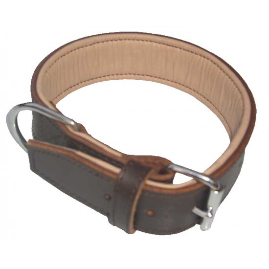 DBN3824 38mm x 24 inch (61cm) Brown/Natural Padded Leather Collar