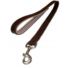 DBN25P24 25mm x 61cm (24 inch) Brown/Natural Leather Lead with a Padded Handle and Trigger Hook