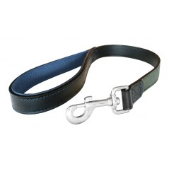 DLS25P24N 25mm x 24 inch Black/Navy Leather Lead with a Padded Handle and Trigger Hook