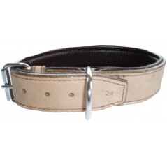 DLN3830 38mm x 30 inch (76cm) Natural/Brown Padded Leather Collar