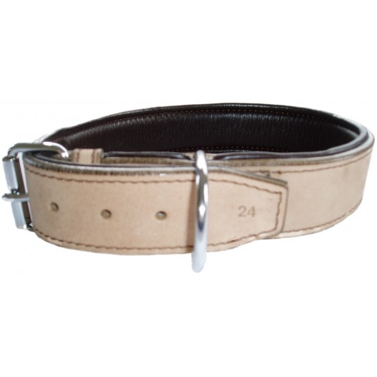 DLN2512 25mm x 12 inch (30cm) Natural/Brown Padded Leather Collar