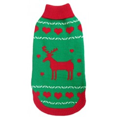 70070 Green Polo Neck Reindeer Christmas Dog Jumper