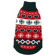 "A Red / White / Blue Polo Neck Dog Jumper available in sizes 8"" - 18"""