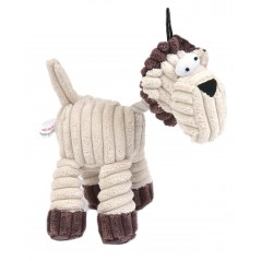 Squeaky Cream Cord/Rope Horse Toy
