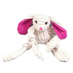 Squeaky Cream Jumbo Cord Rabbit Toy