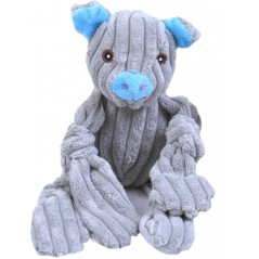 Squeaky Grey Jumbo Cord Pig Toy