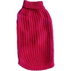 "A Warm Red Polo Neck Cable Knit Jumper available in sizes 8"" - 22"""
