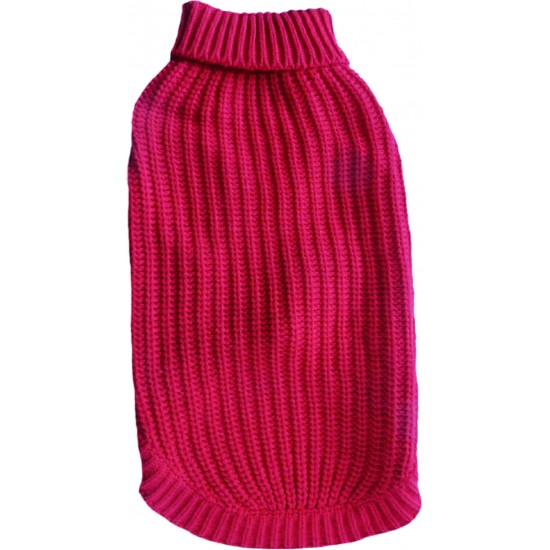 """A Warm Red Polo Neck Cable Knit Jumper available in sizes 8"""" - 22"""""""