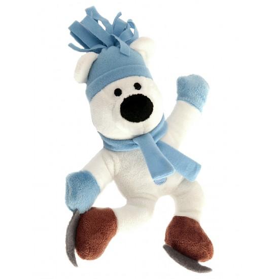 88099 Blue Skating Polar Bear Squeaky Christmas Toy