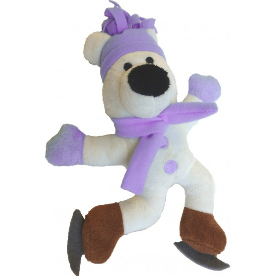 88199 Pink Skating Polar Bear Squeaky Christmas Toy