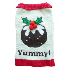 Xmas Pudding Dog Jumper with a Button Collar 8""